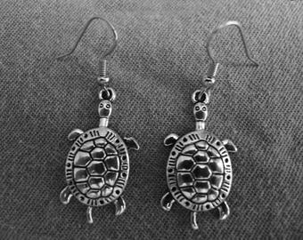 Beautiful pair of Silver Earrings with Turtle and Hypoallergenic Surgical Steel Ear Wires