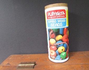 Playskool Jumbo Wood Beads Vintage Toy Beads