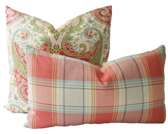Decorative Designer Plaid, Coral Pillow Cover, 18x18, 20x20, 22x22 or Lumbar Throw Pillow