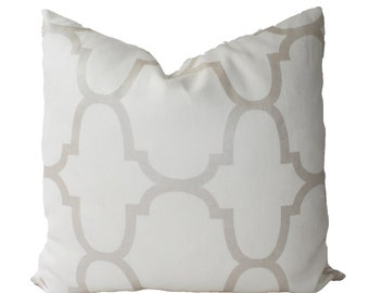 Decorative Designer Kravet Riad Pearl Geometric Pillow Cover, 18x18, 20x20, 22x22 or Lumbar Throw Pillow