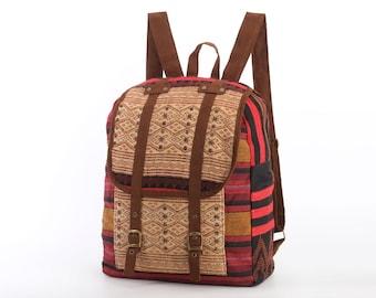 Oriental Tribe Backpack Ethnic Woven Hemp/Cotton Fabric Bohemian, Gypsy Hippie Style