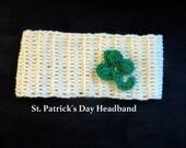 Irish headband Four leaf clover hat Irish, St. Patricks Day Parade hats head band shamrock, ear warmers, St. Patty's Day Parade head wrap