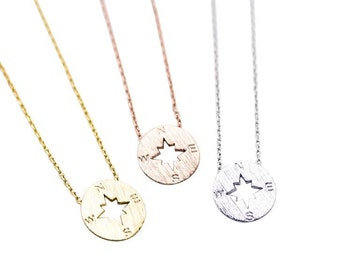 "Tiny Compass ""Find Me"" Necklace Nautical - Dainty, Simple, Birthday Gift, Wedding Bridesmaid Gift"