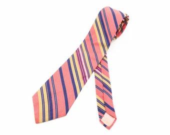 1970s Pink Striped Tie Mens Vintage Disco Era Cotton & Silk Blend Necktie with diagonal stripes by Michel
