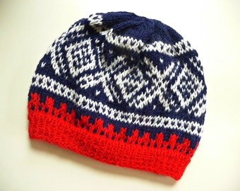 Adult Winter Hat, 100% Pure Alpaca Wool in Blue, Red and White - Men's or Women's - Norwegian Design- Great Gift