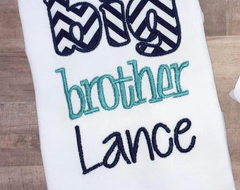 Big Brother Sibling Shirt - Monogrammed - Personalized Appliqued T-Shirt - Long or Short Sleeved - Sizes 12M, 18M, 2T, 3T, 4T, 5T, 6, 8