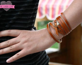 100% Genuine Leather Bracelet Wrap Style or Leather Skinny Belt Stacked Bracelets Cuff Wide Black Brown Red Blue Green Pink B002