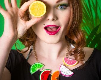 Tropical Fruit Slice statement necklace - laser cut acrylic
