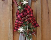 Ski Decoration, Christmas Decoration, Rustic Christmas Decor, Buffalo Check, Winter Decor