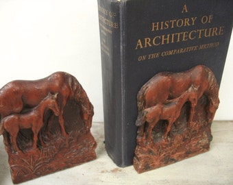 Grazing Horses Syroco Wood Bookends Vintage Equestrian Mare With Colt/Filly Figures Shelf Decor