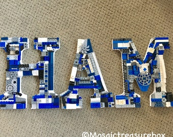 Handmade one of a kind toy brick mosiac,  wall letters