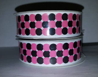 Pink and Black Polka Dot Ribbon
