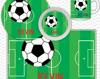 Soccer Field Plate & Bowl Set - Personalized Soccer Plate Set - Customized Plate and Bowl - Melamine Plate and Bowl Set for Kids