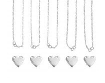 ImpressArt Personal Impressions Silver Plated Heart Hand Stamping Starter Kit for Metal Stamps Makes 5 Necklaces and Comes Practice Blanks
