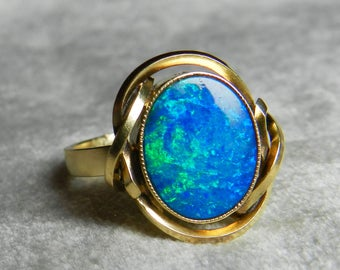 Vintage Opal Ring Fiery Blue Opal Doublet Ring 10K Gold Ring Mermaid Ring Unique Engagement Ring Statement Ring