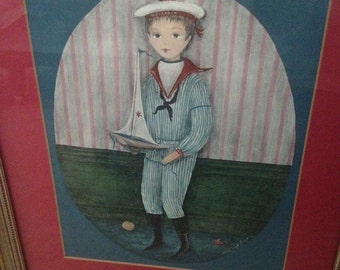 vintage whimsical painting of boy with sailboat signed by artist