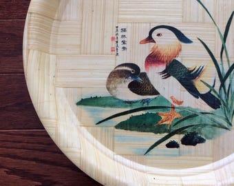 Chinese Mandarin Bird bamboo plates set of six