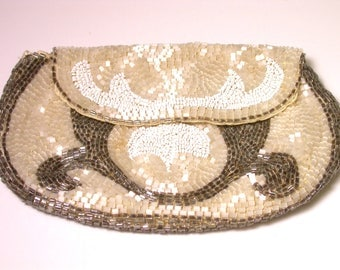 Vintage Delicate Beaded Clutch - Evening Purse