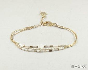 Maho bracelet, gold and white || Dainty bracelet