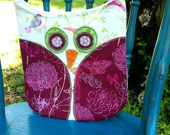 Owl Purse, Pink and Green Owl Purse, Childs Purse, Owl Tote, Childrens Bag
