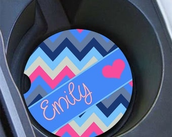 Gift under 20 for daughter, Personalized car coaster, Chevron in blue and hot pink, Chevron car decor, Pink car coaster monogram  (1068)