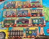 "Graffiti Train Series set of 11 mini 5"" x 7"" Canvas Lot Engine #8 Fro Caboose Casey Jones Peace Turtle Painting"