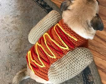 Hotdog sweater, dog costume, crochet dog sweater, puppy shirt, dog chothes, funny dog sweater, knit dog shirt, animal clothes, dog shirt