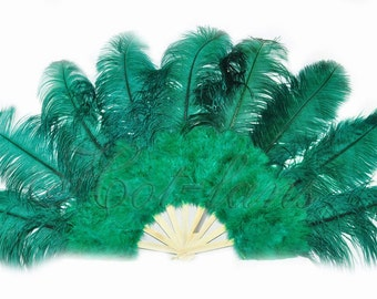 "24""x 43"" forest green Marabou & Ostrich Feathers Hand Fan With Bamboo Staves"