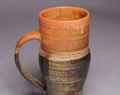 Clay Coffee Mug Beer Stein Stoneware Orange Brown F43