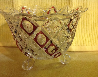Vintage Clear Crystal & Cranberry Pattern Three Footed Candy Dish