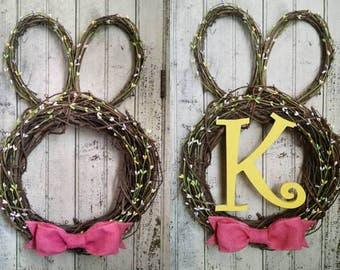 Grapevine wreath bunny door hanger with or without letter (of your choice)