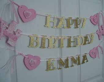 Happy Birthday Princess Banner, Painted Wooden Princess Castles, Hearts, and Paper Banner, Personalized Princess Birthday Banner, Pink, Gold