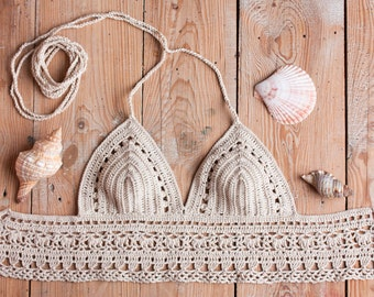 Crochet top, Crop Top, Crossback crochet Bikini top, Beachwear Summer top, Beige Halter top, Crochet swimwear, , Coachella 2017 clothes
