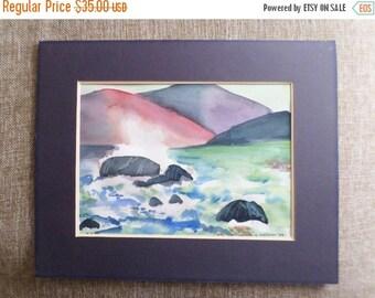 ON SALE Vintage, 1988, Original, Watercolor, Painting, Ocean, Seascape Signed, G Metzler, Art, Artwork, Purple, Blue, Green, Orange, Black