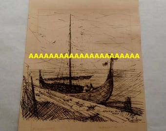 ON SALE Vintage B.Hodgins Black Ink Drawing Print on Paper, Knife River, May 11,1982 Viking Boat, Signed, Art, Wall Hanging
