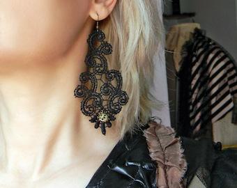 Lace chandelier earrings Black LACE earrings with Jasper beads Huge earrings Elegant and Sexy earrings Extra long earrings Large earrings