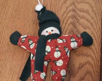Floppy Snowman Ornament, Snowman Ornament, Snowman, Snowman Decoration, Whimsical Snowman Ornament