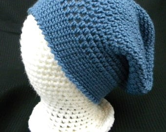 Crocheted soft blue slouchy
