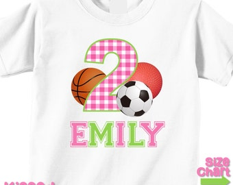 Personalized Multi Sports Athletic Girl Birthday Party T-shirt Bodysuit Basketball Soccer Kickball