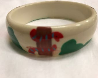 Vintage 1960's Hand-Painted Catalin Garden Bangle