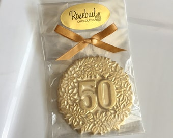 8 Chocolate #50 Gold Dusted Decorative Favors Birthday Party Candy Anniversary Fifty Fiftieth