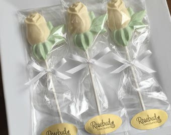 12 Chocolate Yellow Rose Lollipops Candy Wedding Bridal Shower Favors Flowers