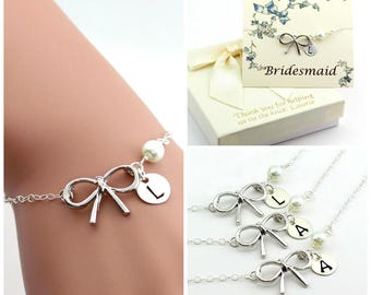 Free Shipping, Set of 3 personalized bow bracelets.Personalized sterling silver bow bracelet., monograme bracelet