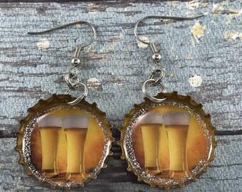Beer Glass Earrings, Beer Cap Earrings, Beer Jewelry, Recycled Bottle Caps, Repurposed Earrings, Bottle Cap Earrings, Upcycled Jewelry