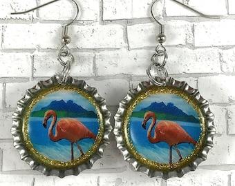 Flamingo Earrings Bottle Cap Earrings Recycled Earrings Bird Lovers Animal Lovers Summer Jewelry