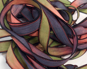 "HYPNOTIC 42"" hand dyed wrist wrap bracelet silk ribbon//Yoga wrist wrap bracelet ribbons//Silk wrist wrap ribbon// By Color Kissed Silk"