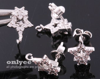 1pair/2pcs-10.5mmX7.5mmBright Rhodium Plated over Brass Cubic Zirconia Two star earrings 92.5 sterling silver post Earring(K946S)