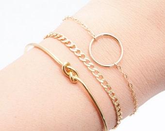 Punahele bracelet - Gold Circle Bracelet, Love Bracelet, Gold Eternity Bracelet, Bridesmaid Gift, Dainty Bracelet, Delicate Bracelet, Layer