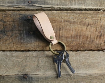 Custom Leather Keychain Fob // Natural Vegetable Tanned Leather // Antique Brass Hardware
