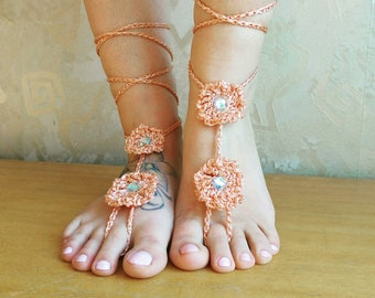 Peach Barefoot Sandals- Foot Jewelry- Footless Sandals- Barefoot Wedding Sandal- Beach Wedding- Bridesmaid gift- Flower sandals